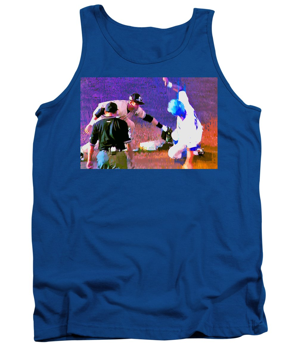 Baseball Tank Top featuring the painting Outta There by Stephen Anderson