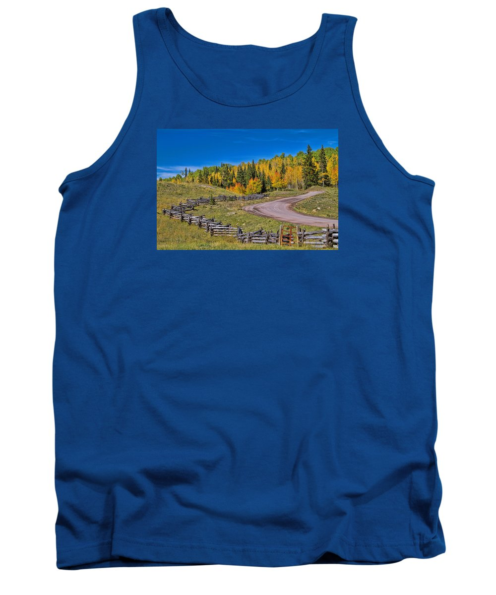 Fall Color Tank Top featuring the photograph Owl Creek Pass Road by Alana Thrower