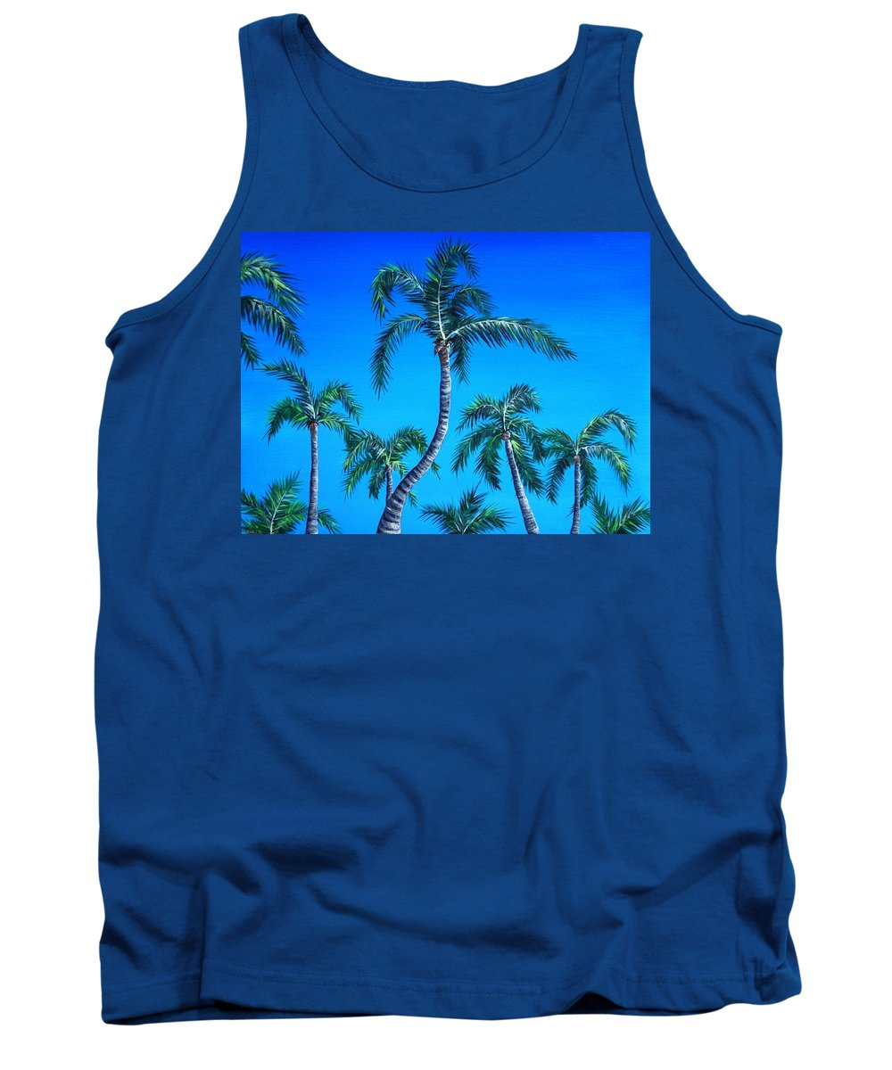 Palm Tank Top featuring the painting Palm Tops by Anastasiya Malakhova