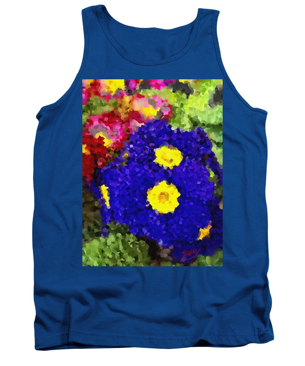 Floral Tank Top featuring the digital art Pansies by Donna Blackhall