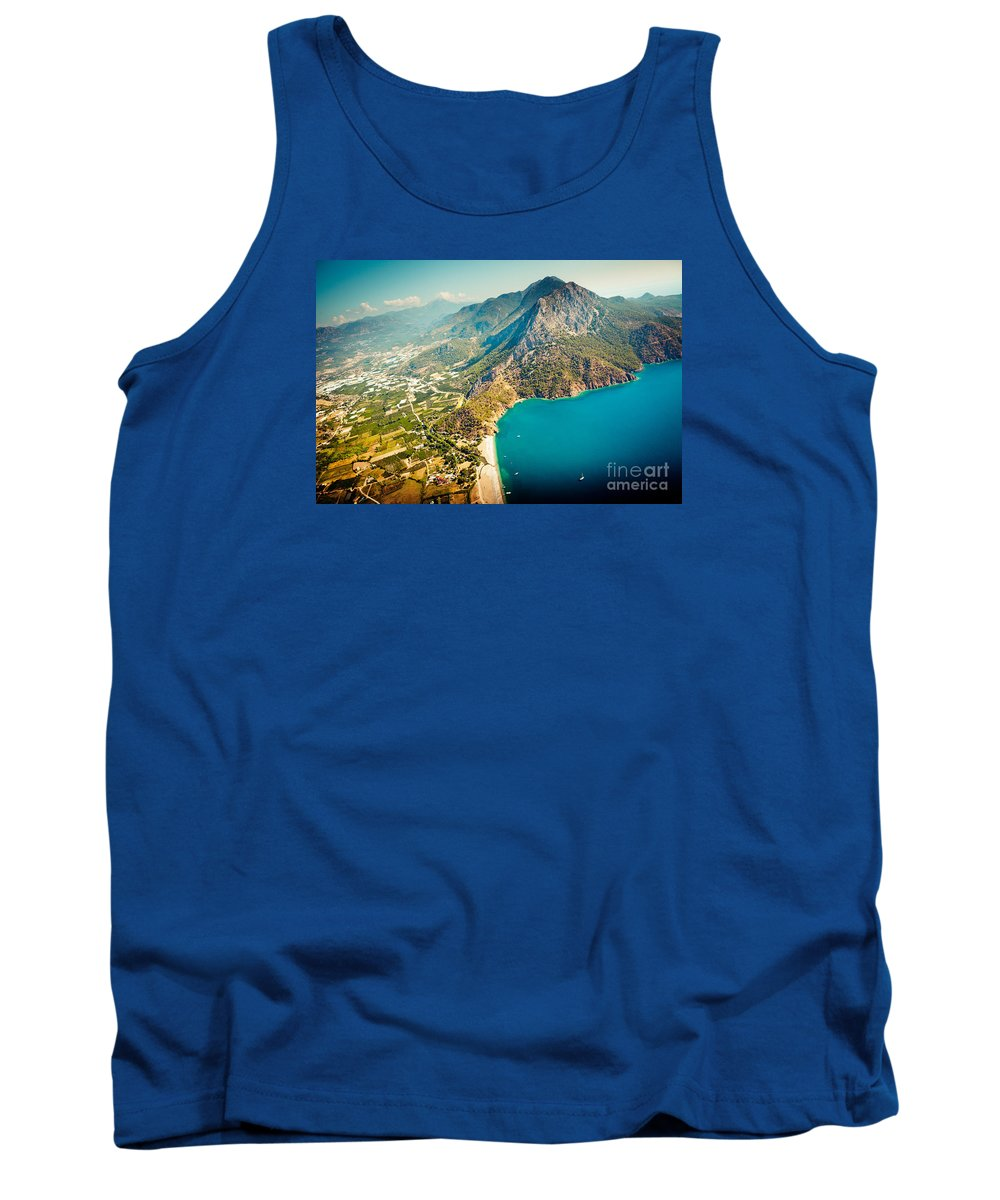 Water Tank Top featuring the photograph Paragliding Fly Above Laguna Artmif.lv by Raimond Klavins