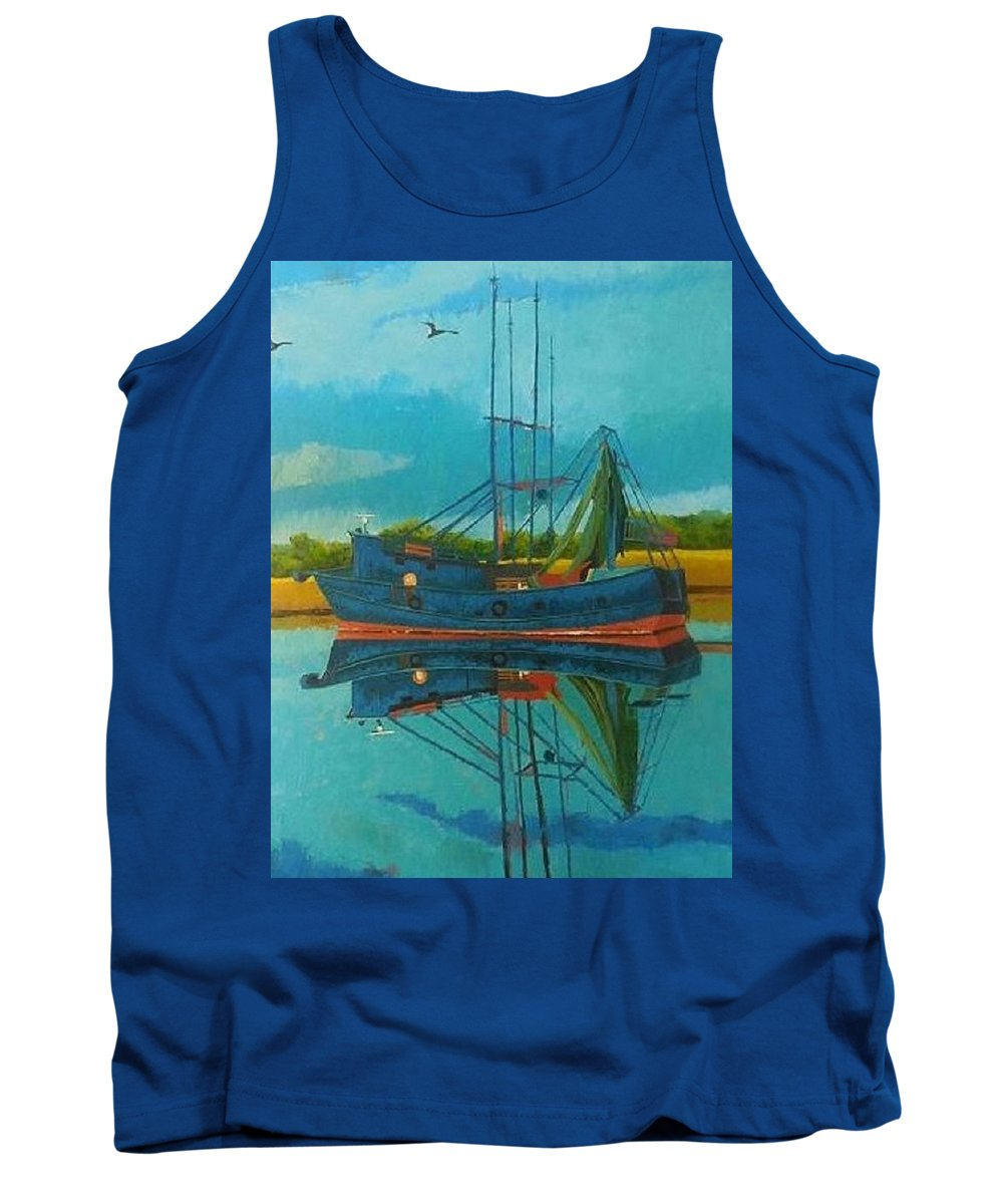 Boat Tank Top featuring the painting Peaceful Reflection by Scott Velez