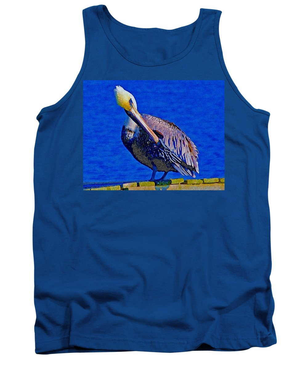 Birds Tank Top featuring the painting Pelican On Dock Looking Down by Michael Thomas