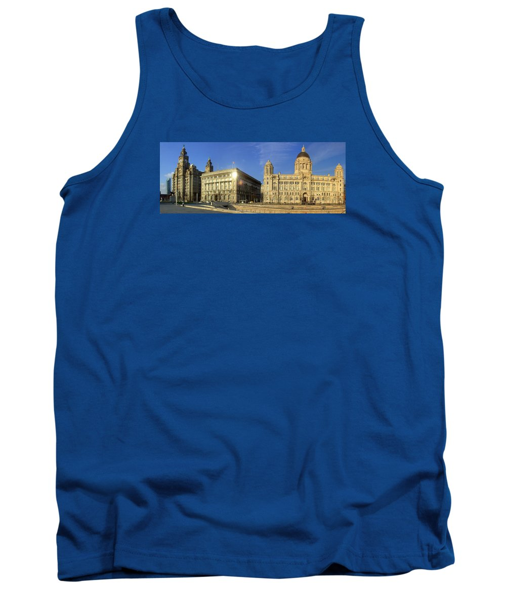 Liverpool Tank Top featuring the photograph Pier Head Liverpool Panorama 2 by Steve Kearns