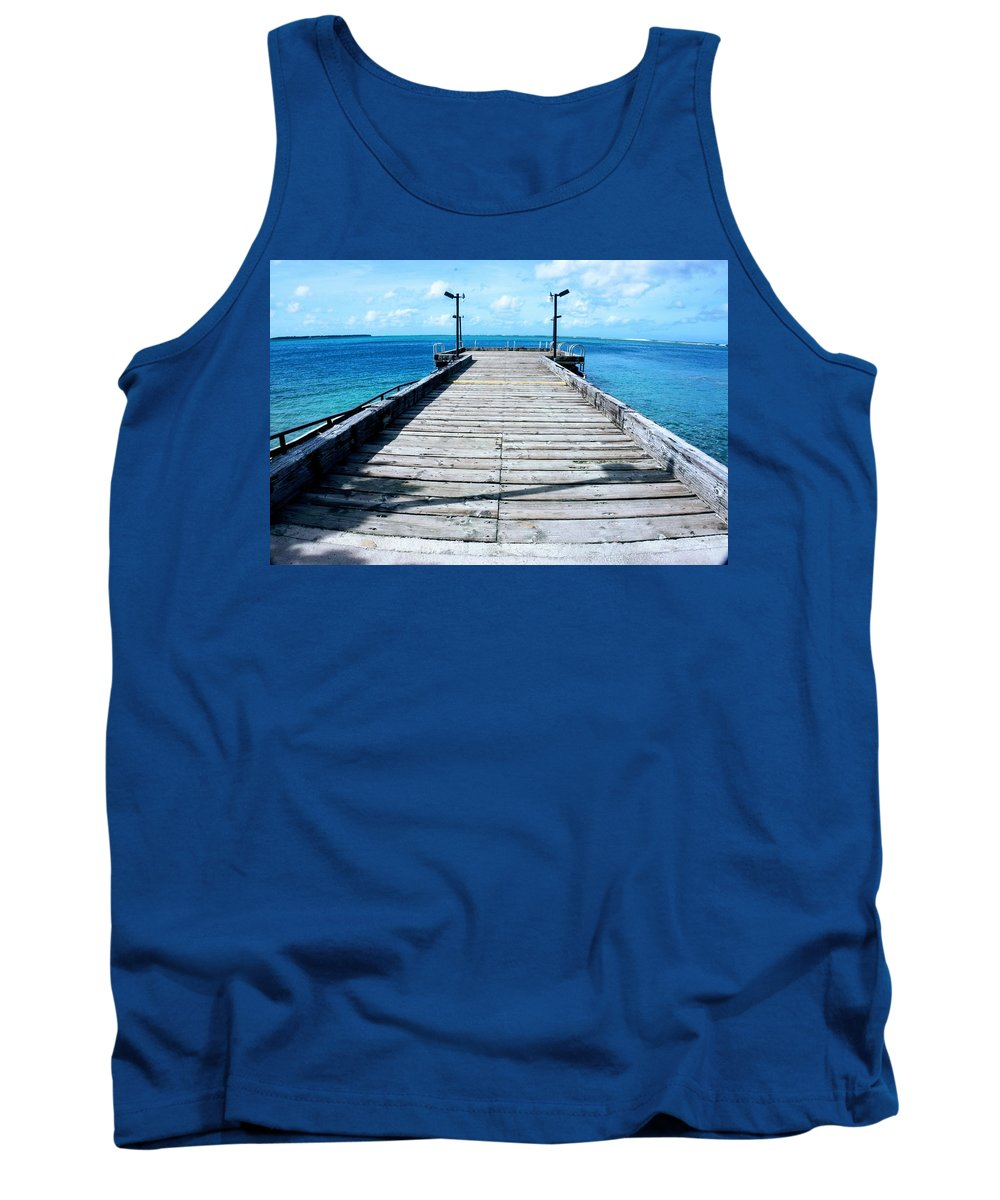 Pier Tank Top featuring the photograph Pier Into The Blue by Jade Phoenix