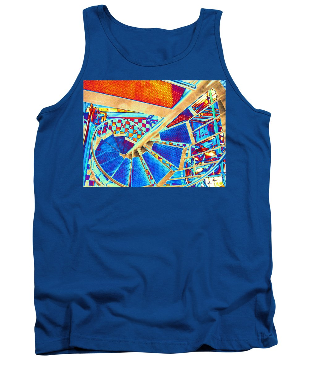 Seattle Tank Top featuring the digital art Pike Brewpub Stair by Tim Allen