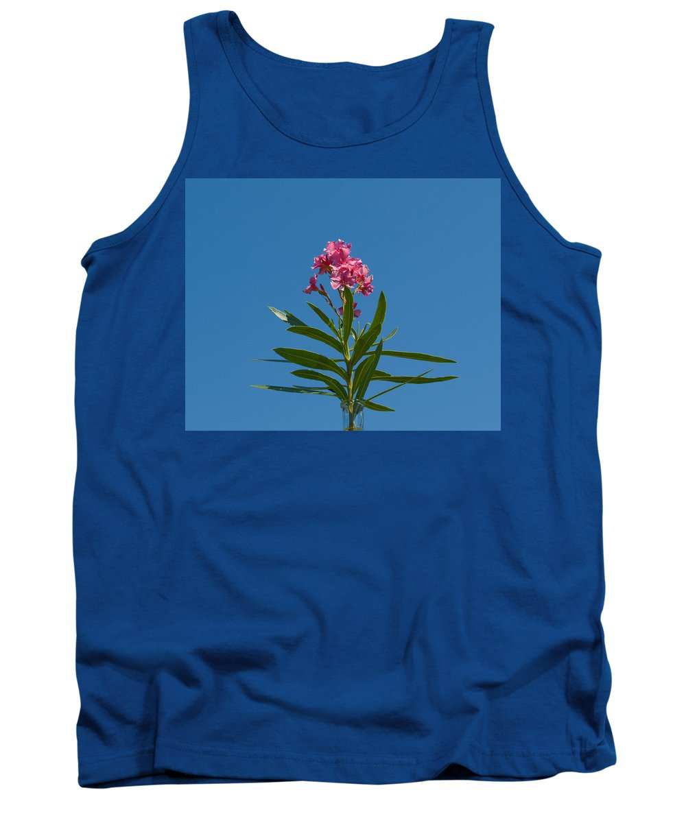 Florida; Indian; River; Melbourne; Nerium; Oleander; Red; Pink; Flower; Bush; Shrub; Poison; Poisono Tank Top featuring the photograph Pink Florida Oleander Blossom by Allan Hughes