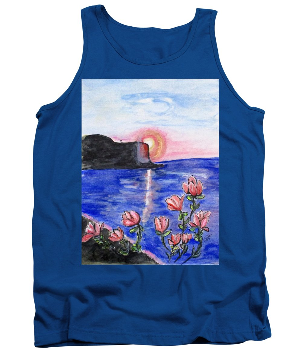 Sunset Tank Top featuring the painting Pink Sunset by Clyde J Kell
