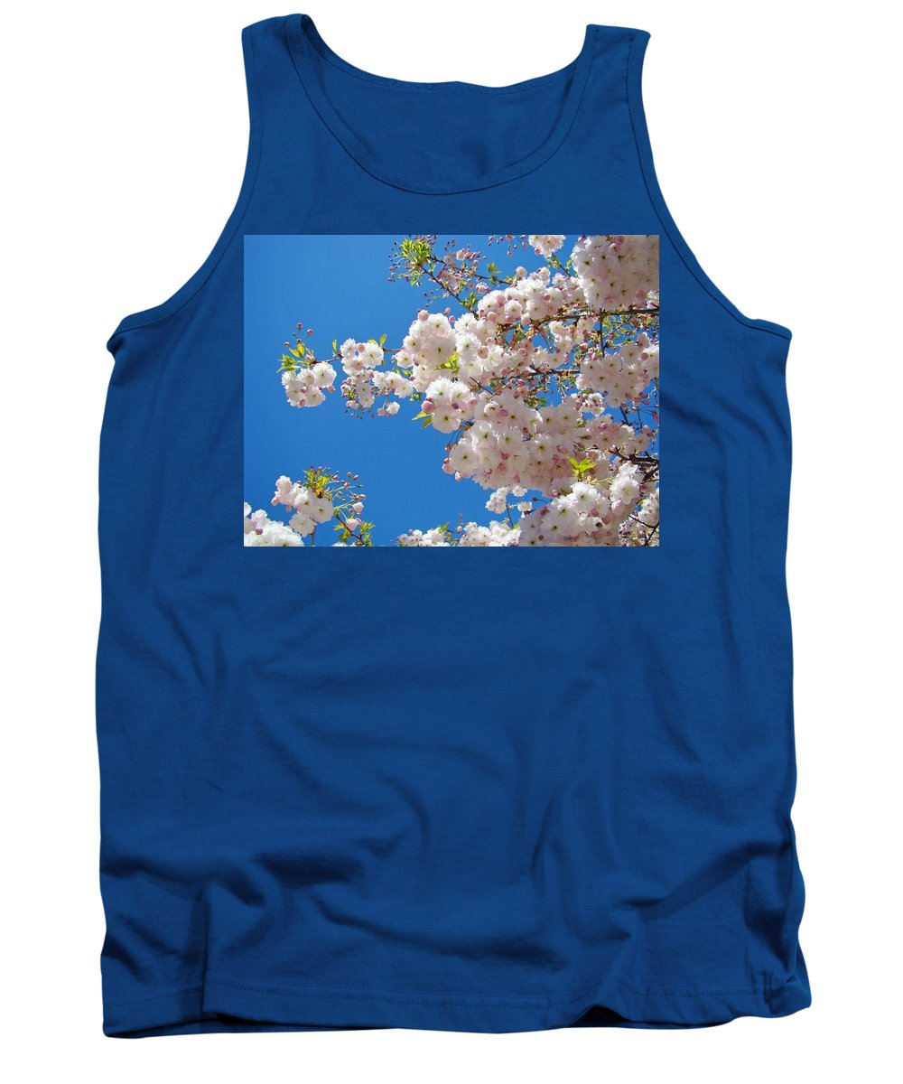 �blossoms Artwork� Tank Top featuring the photograph Pink Tree Blossoms Art Prints 55 Spring Flowers Blue Sky Landscape by Baslee Troutman