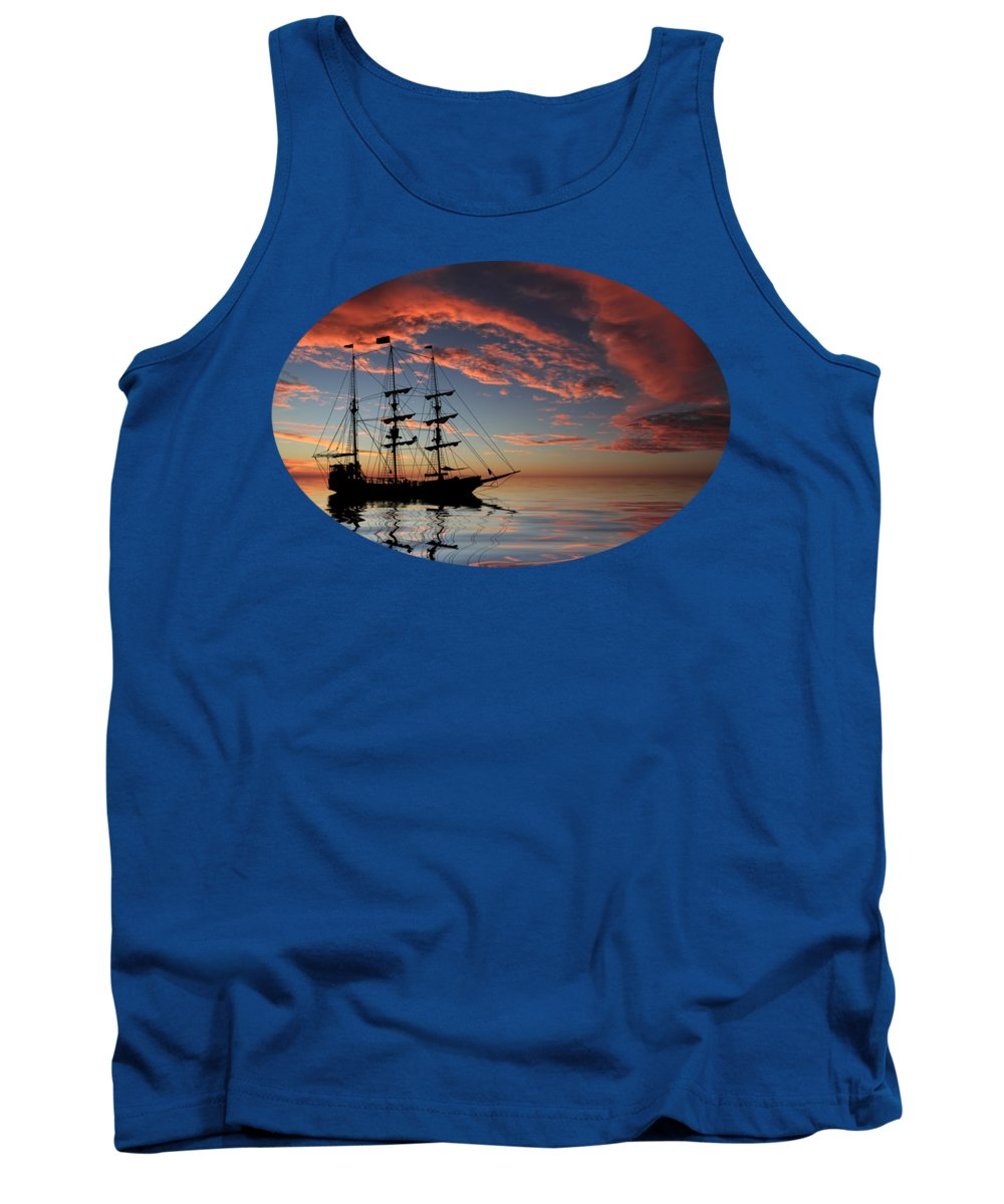 Pirate Ship Tank Top featuring the photograph Pirate Ship At Sunset by Shane Bechler
