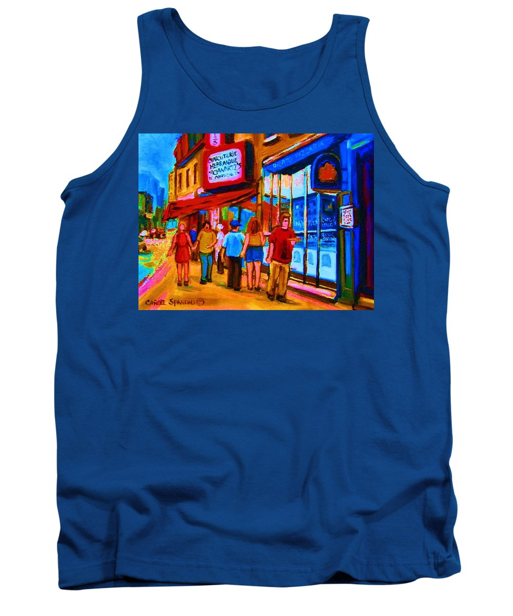 Schwartzs Hebrew Deli Tank Top featuring the painting Pizza To Go by Carole Spandau
