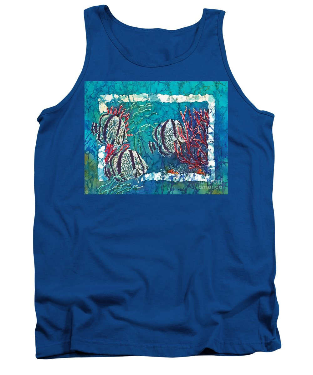 Fish Tank Top featuring the painting Playful Trio by Sue Duda