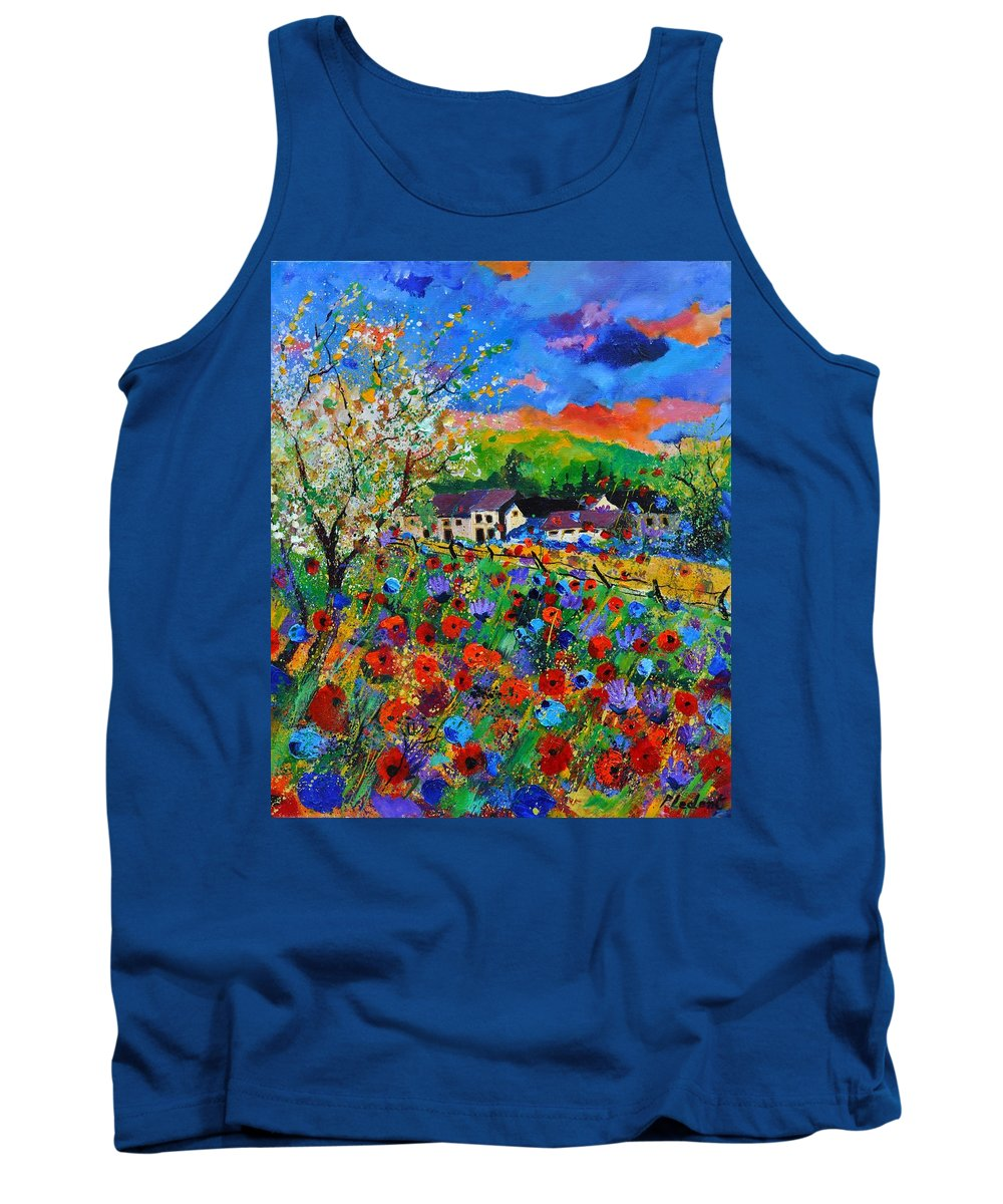 Poppies Tank Top featuring the painting Poppies in Sorinnes by Pol Ledent