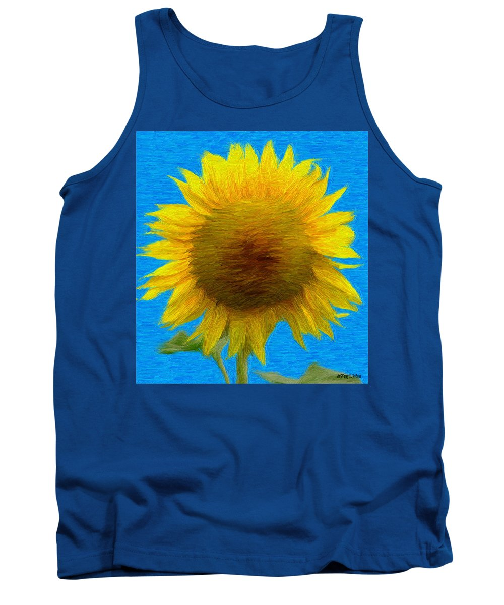 Blue Tank Top featuring the painting Portrait Of A Sunflower by Jeffrey Kolker