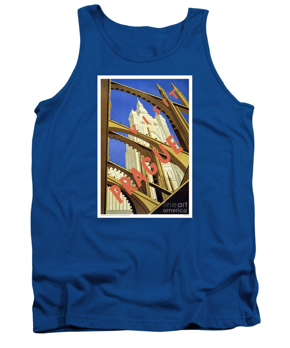 Prague Travel Poster Tank Top featuring the painting Prague Travel Poster by Pd