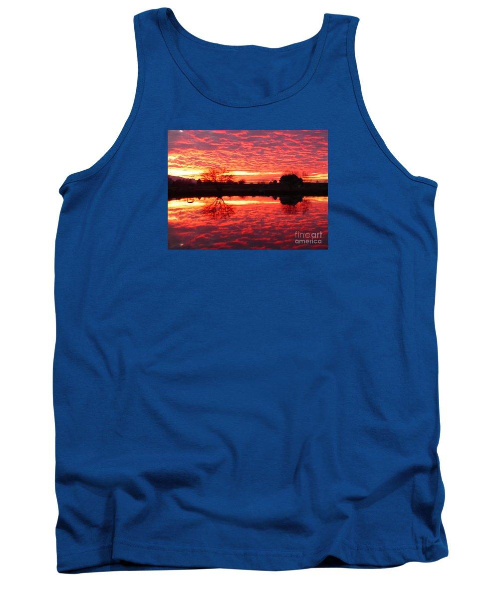 Orange Tank Top featuring the photograph Dramatic Orange Sunset by Carol Groenen