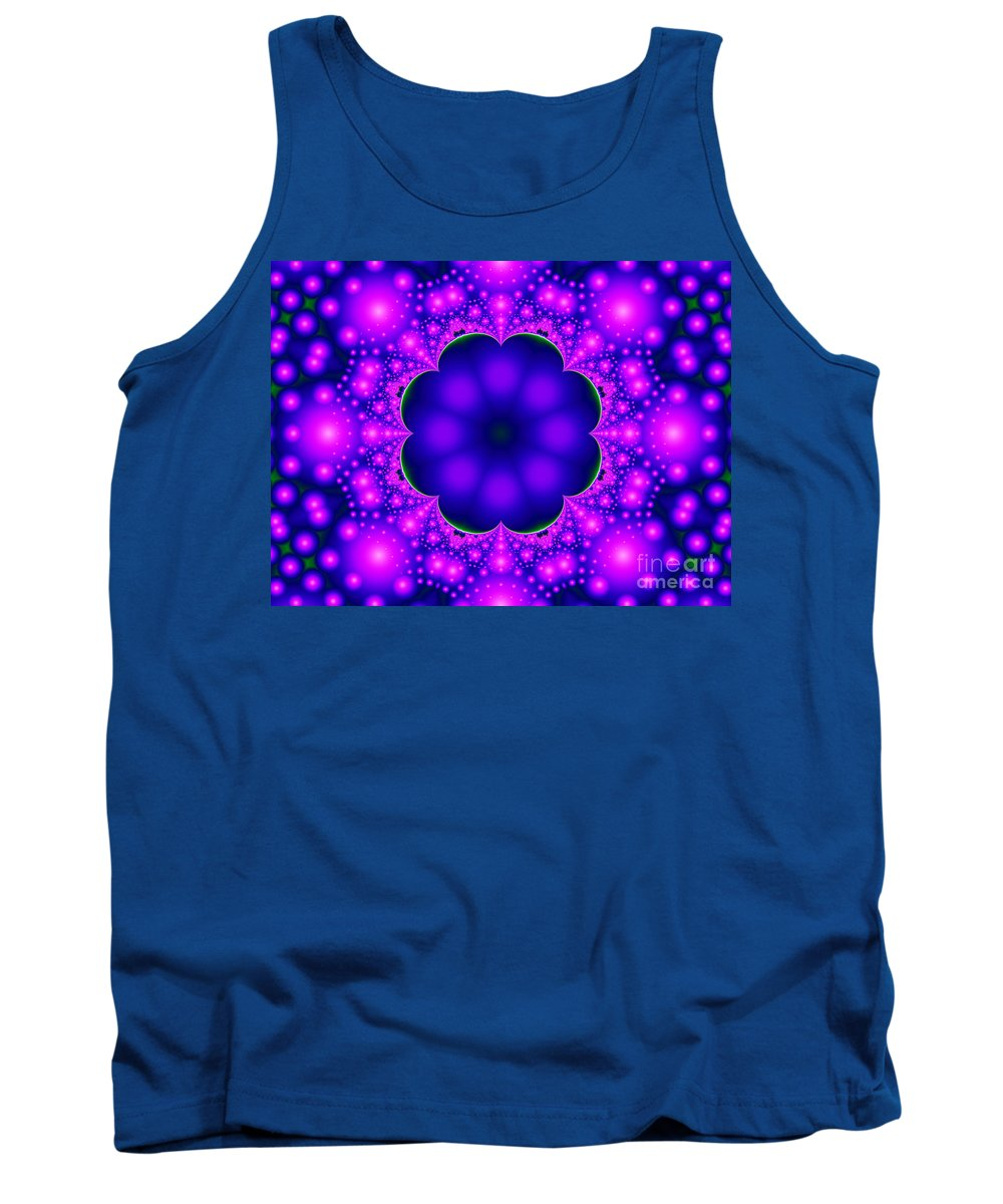 Purple Tank Top featuring the digital art Purple And Pink Glow Fractal by Tracey Everington