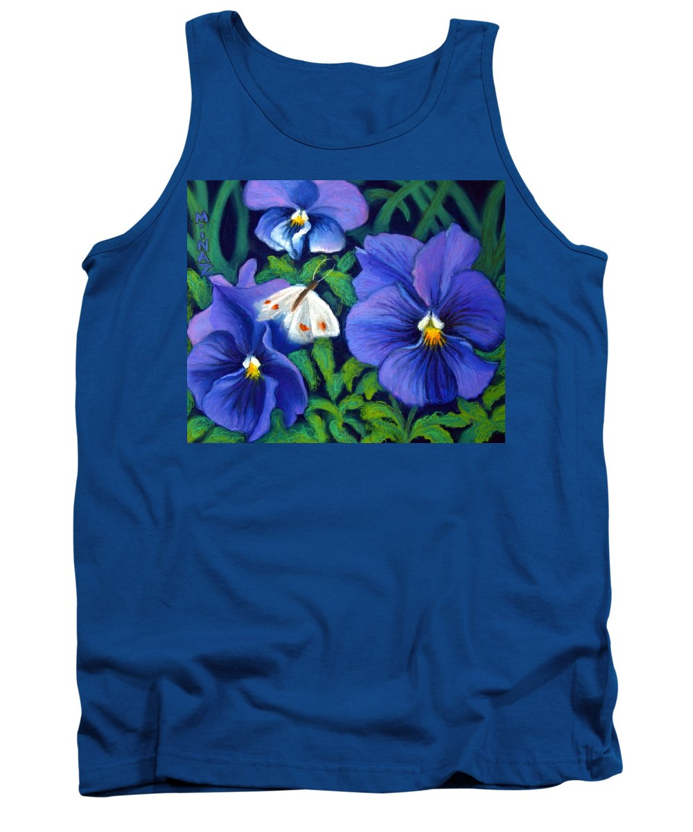 Pansy Tank Top featuring the painting Purple Pansies And White Moth by Minaz Jantz