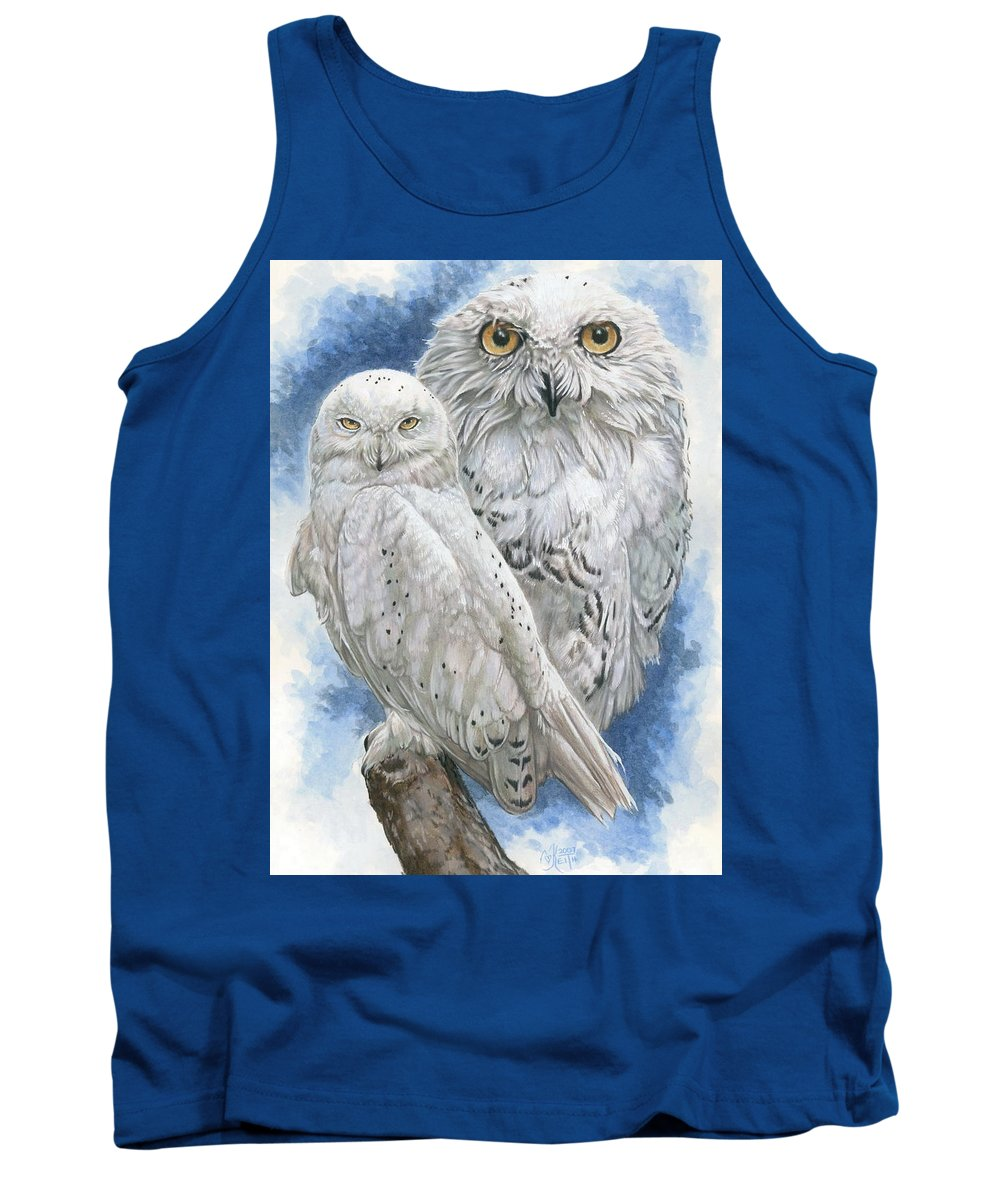 Snowy Owl Tank Top featuring the mixed media Radiant by Barbara Keith