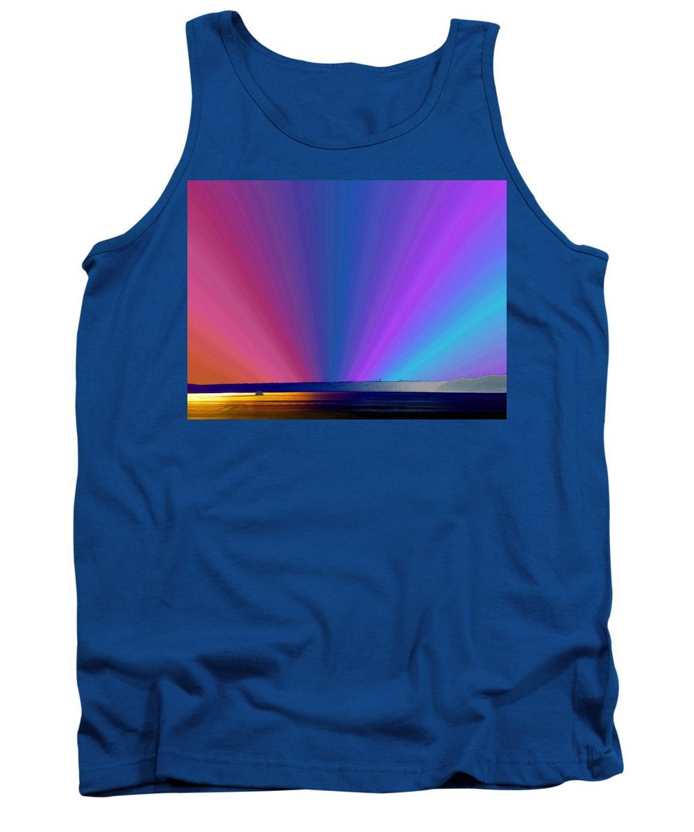 Ferry Tank Top featuring the photograph Rainbow Setting by Tim Allen