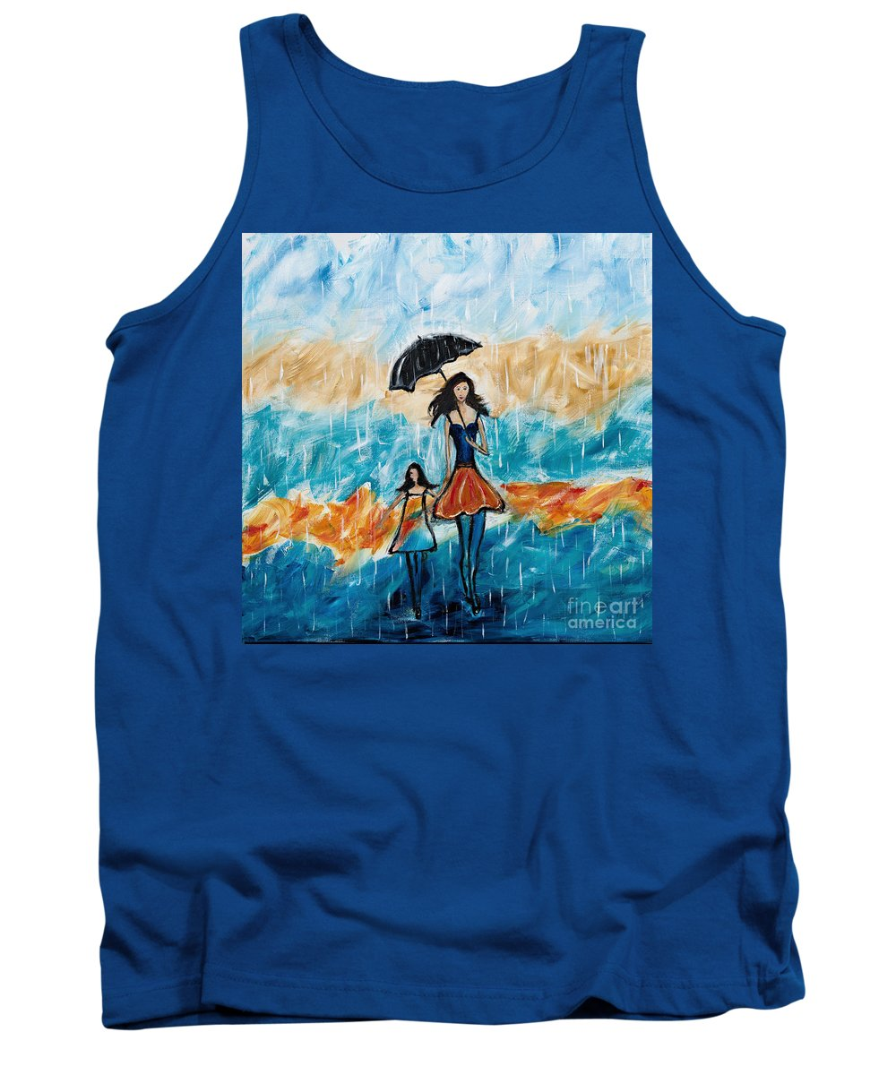 Rain Tank Top featuring the painting Rainy Day Blues by Art by Danielle