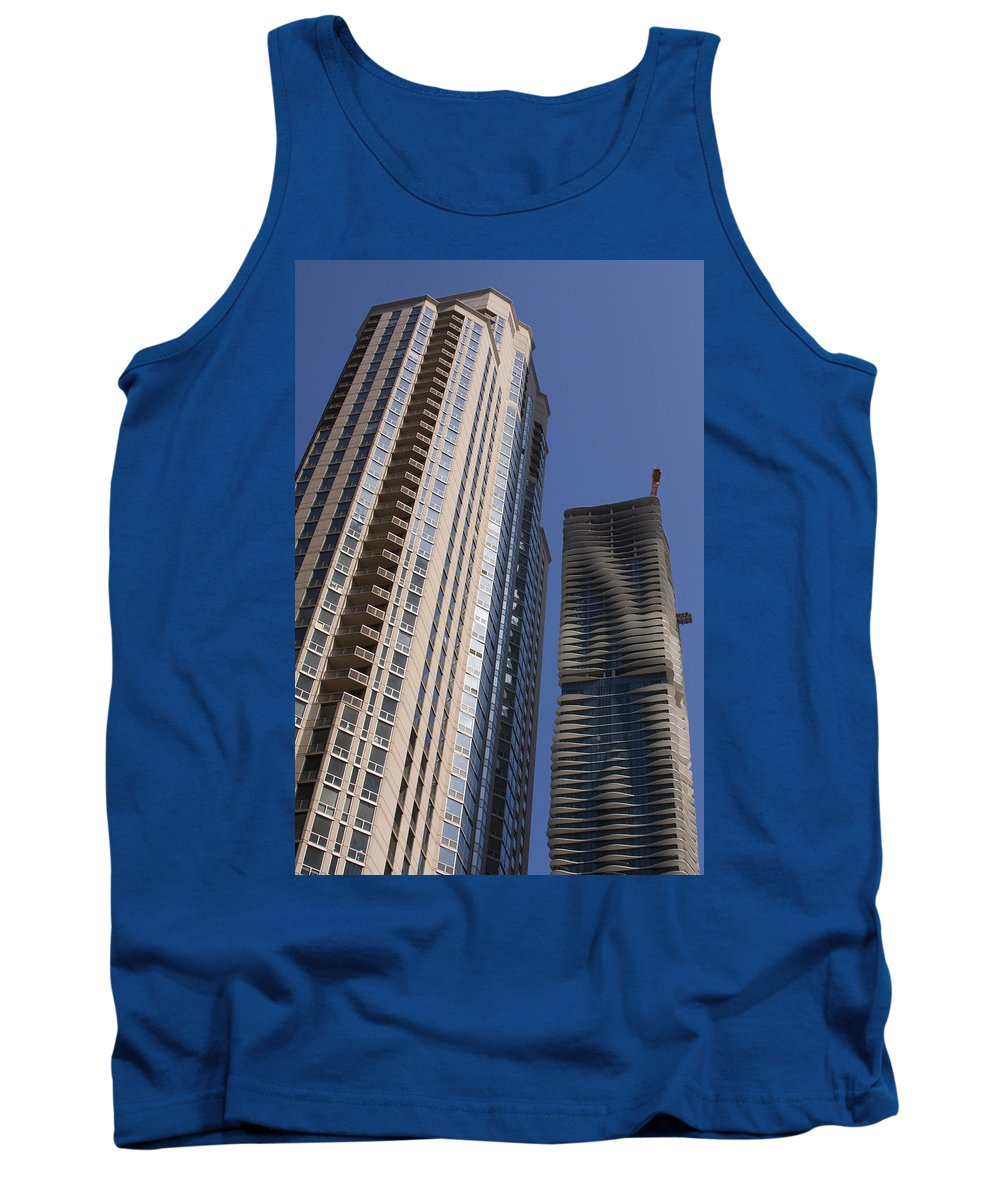 Chicago Wind Windy City Building Sky Skyscraper Blue Tall High Big Large Urban Metro Tank Top featuring the photograph Reaching High by Andrei Shliakhau