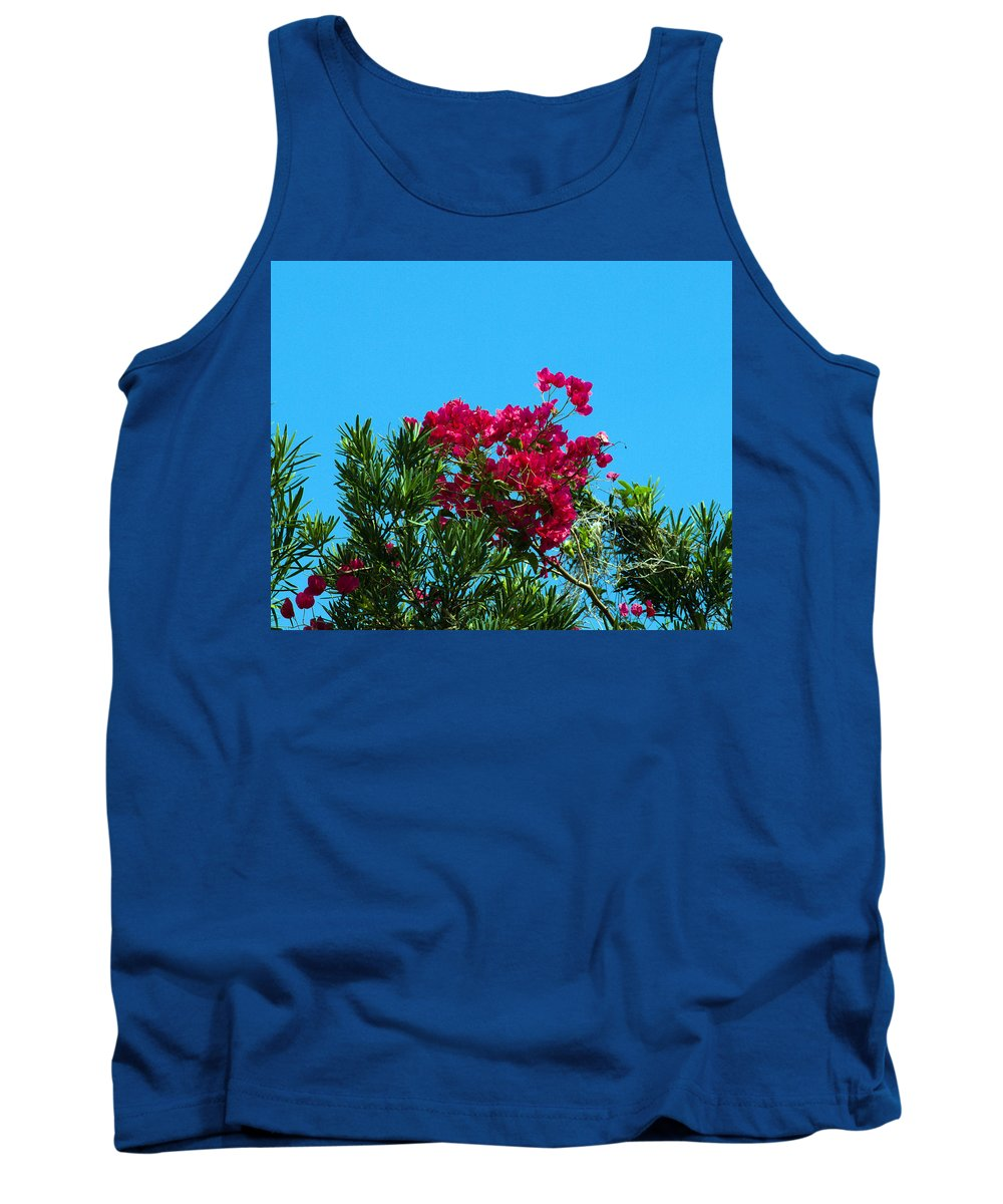 Red; Bougainvillea; Glabra; Juniperus; Vitginiana; Silicicola; Coastal; Cedar; Tree; Vine; Grow; Gro Tank Top featuring the photograph Red Bougainvillea Glabra Vine by Allan Hughes