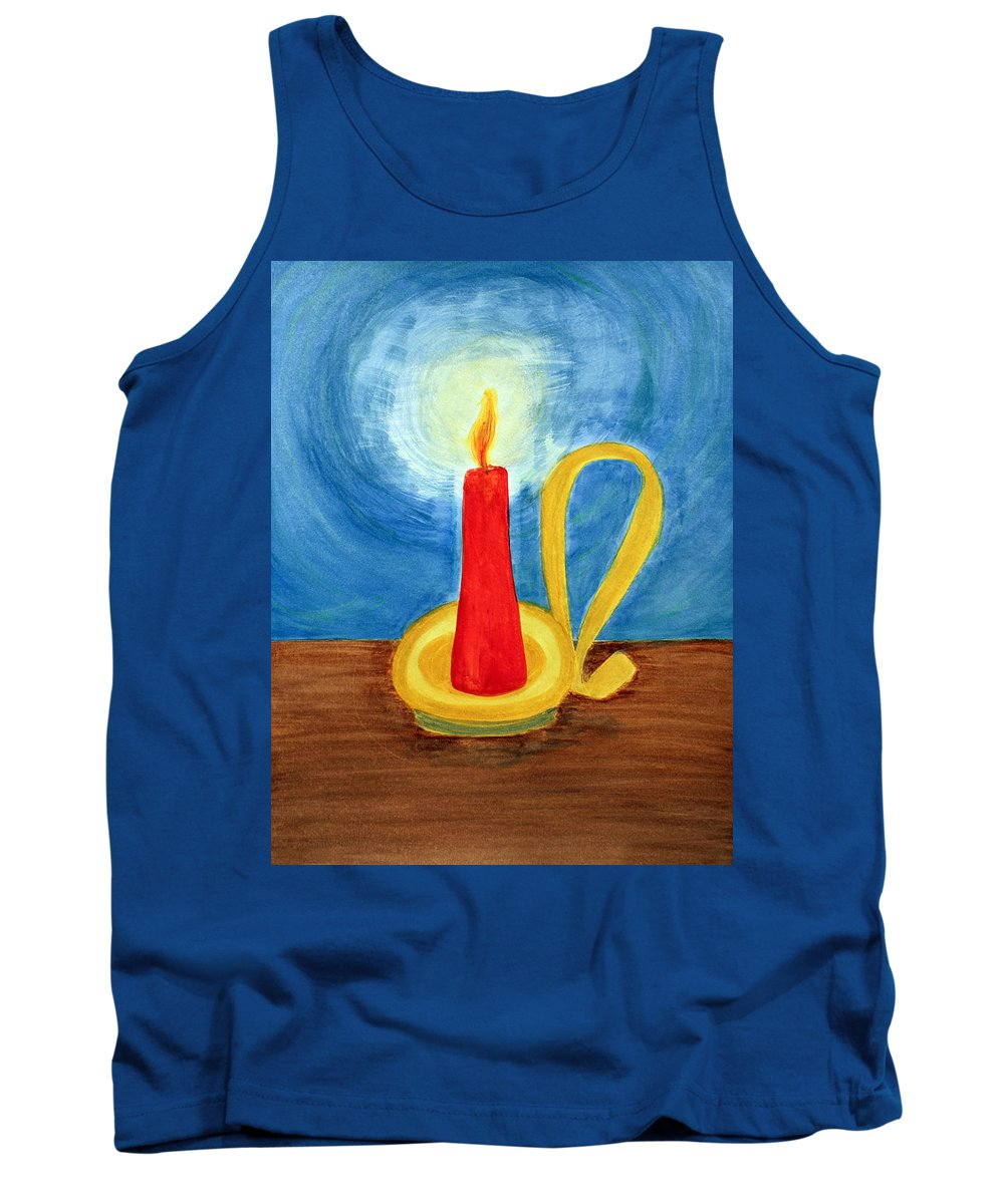 Art Tank Top featuring the painting Red Candle Lighting Up The Dark Blue Night. by Lee Serenethos