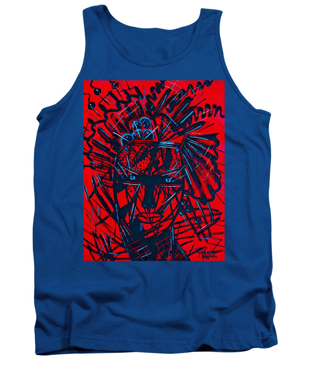 Abstract Tank Top featuring the painting Red Exotica by Natalie Holland