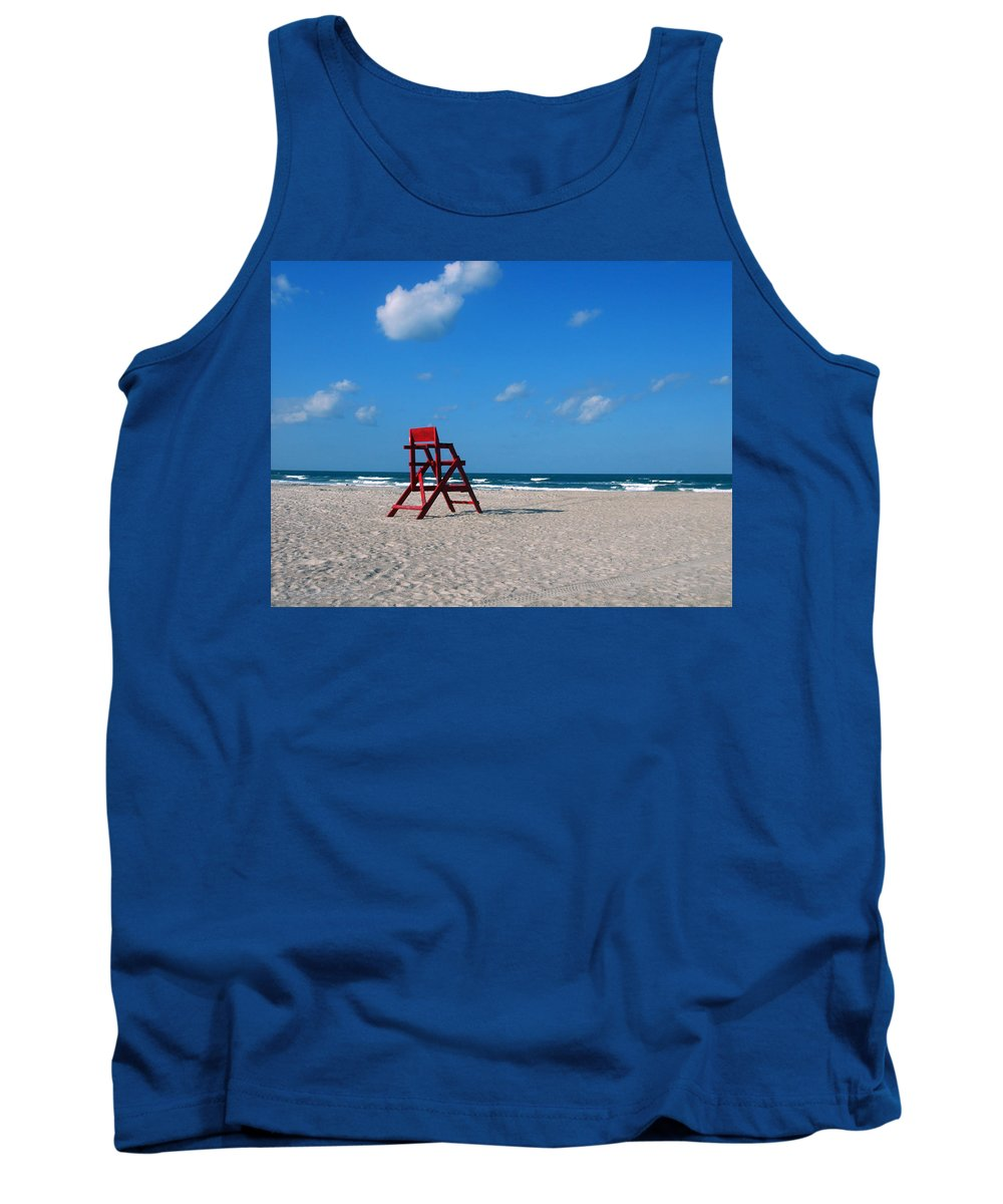 Photography Tank Top featuring the photograph Red Life Guard Chair by Susanne Van Hulst