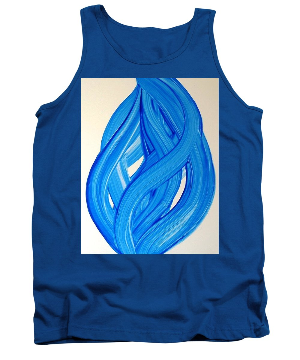 Abstract Modern Contemporary Yupo Art Painting Romantic Pop Blue Tank Top featuring the painting Ribbons of Love-Blue by Manjiri Kanvinde