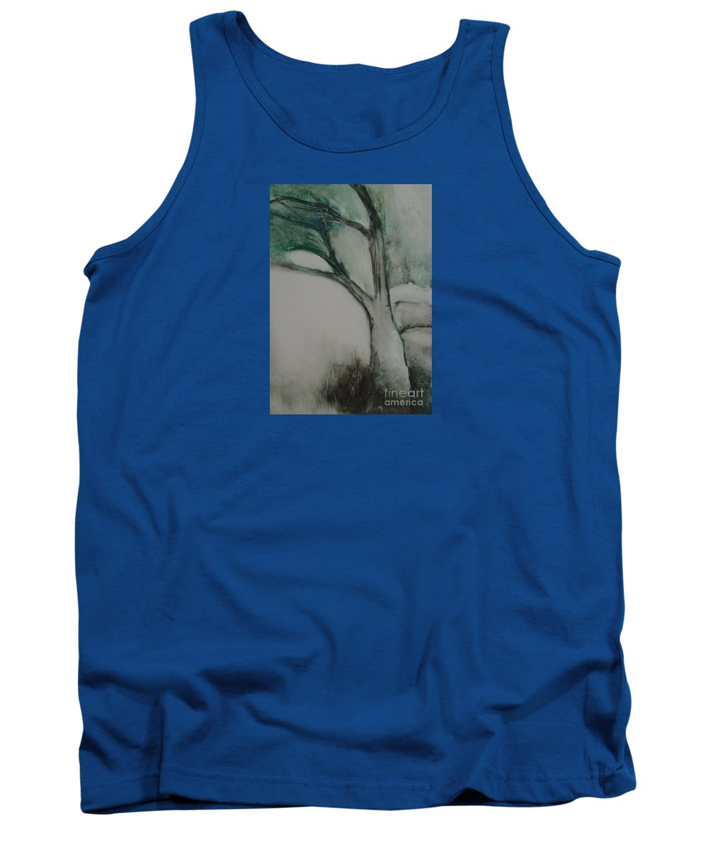 Monoprint Tree Rock Trees Tank Top featuring the painting Rock Tree by Leila Atkinson