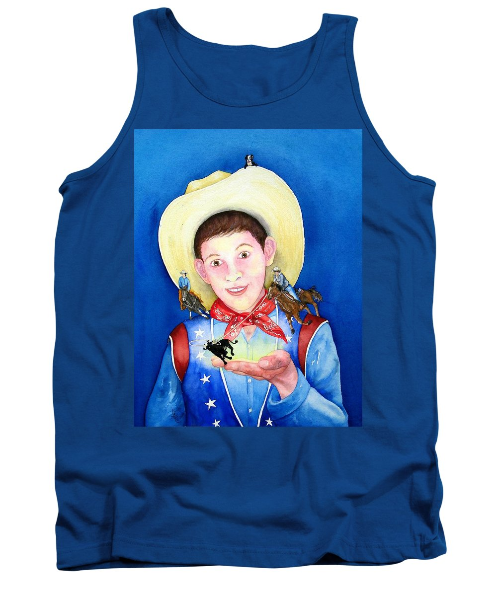 Boy Tank Top featuring the painting Rodeo Magic by Gale Cochran-Smith
