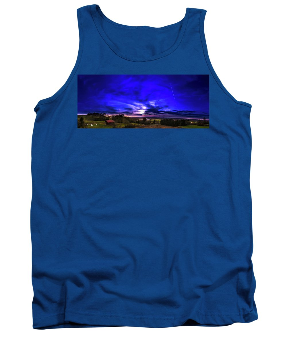 Landscape Tank Top featuring the photograph Rural Sunset Panorama by Felix Mittermeier