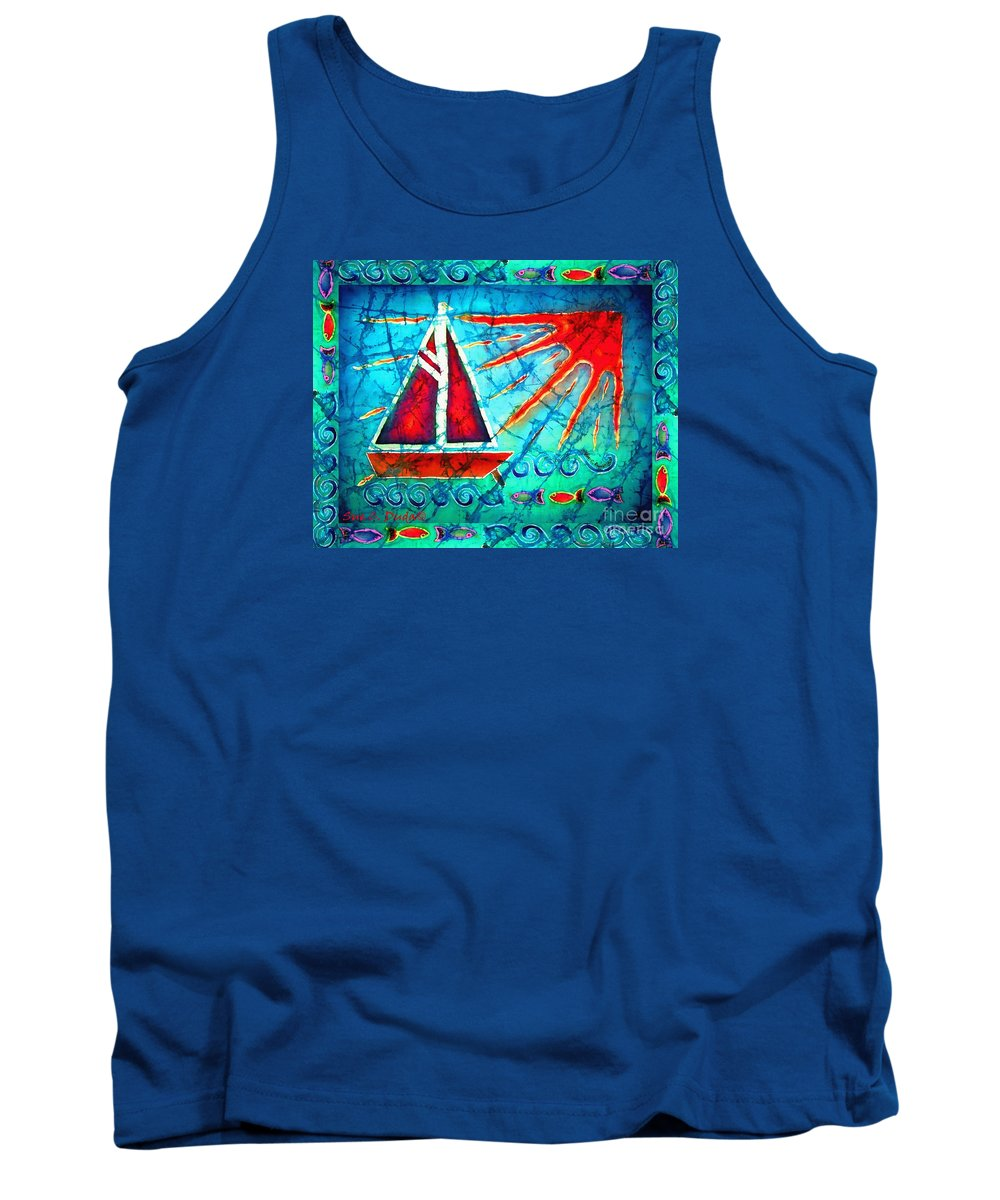 Sailboat Tank Top featuring the painting Sailboat In The Sun by Sue Duda