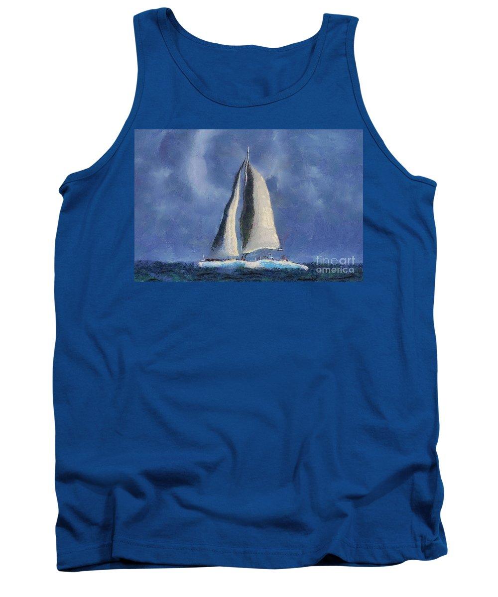 Sail Tank Top featuring the digital art Sailing Away by Teresa Zieba