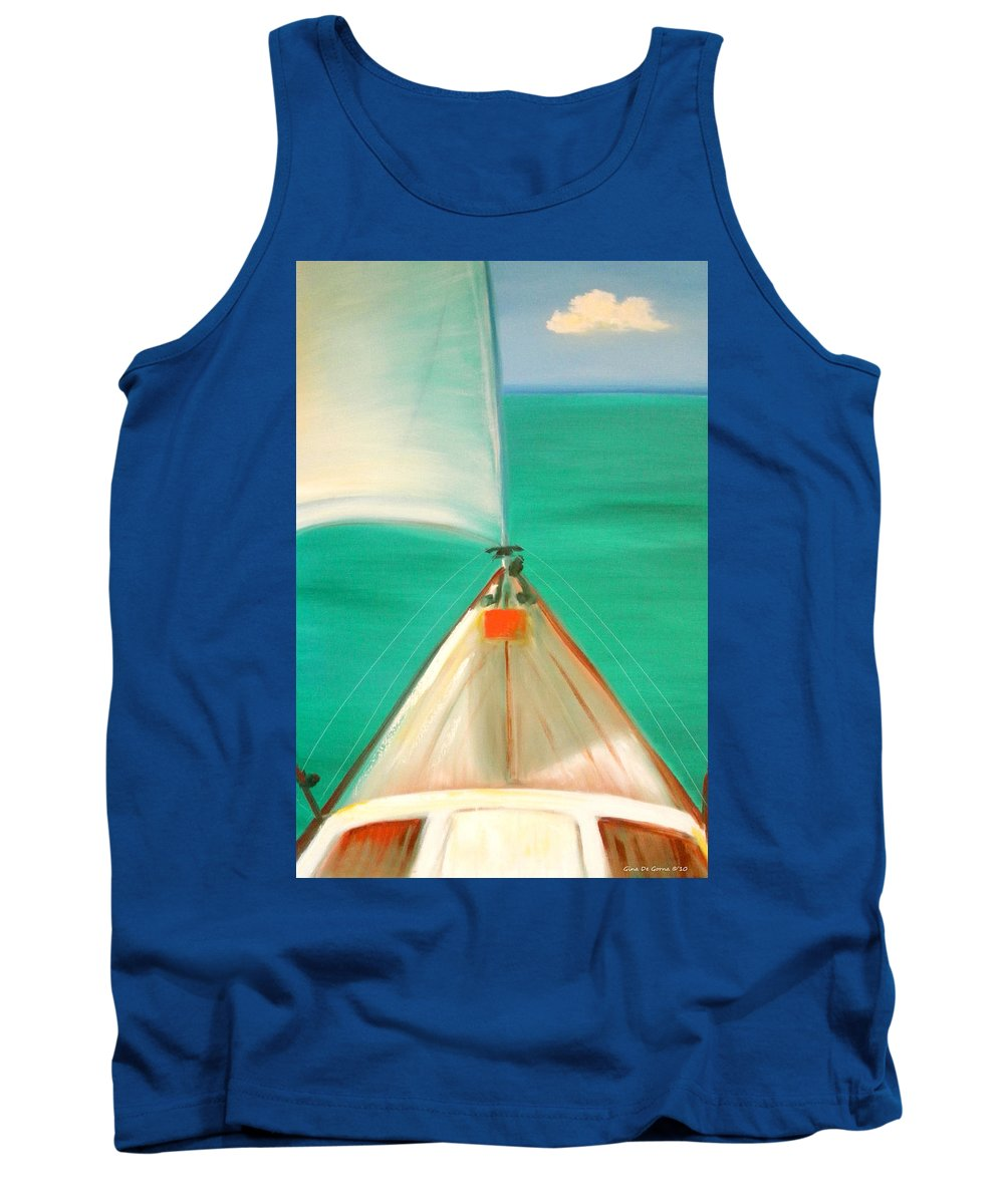 Sea Tank Top featuring the painting Sailing by Gina De Gorna