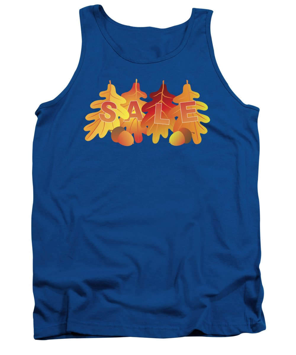 Oak; Leaves; Acorn; Nuts; Fall; Sale; Commerce; Business; Store; Sign; Poster; Low; Price; Sell; Change; Color; Red; Yellow; Orange; Northeastern; United States; North America; Deciduous; Usa; Autumn; Season; Nature; Tree; Botanical; Isolated; White; Background; Illustration; Drawing; Vector Tank Top featuring the photograph Sale Text On Fall Colors Oak Leaves by Jit Lim