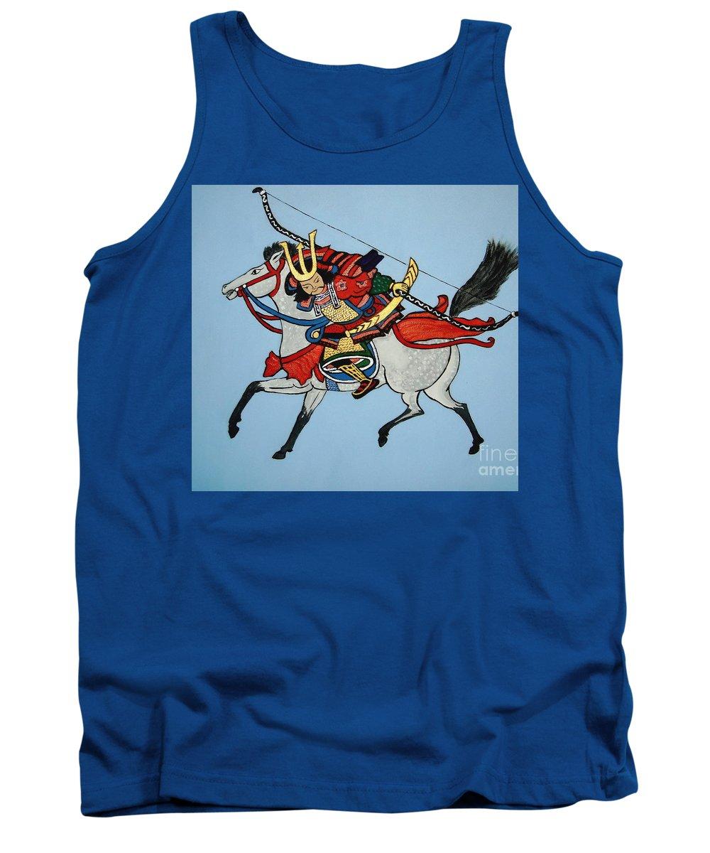 Samurai Tank Top featuring the painting Samurai Rider by Stephanie Moore