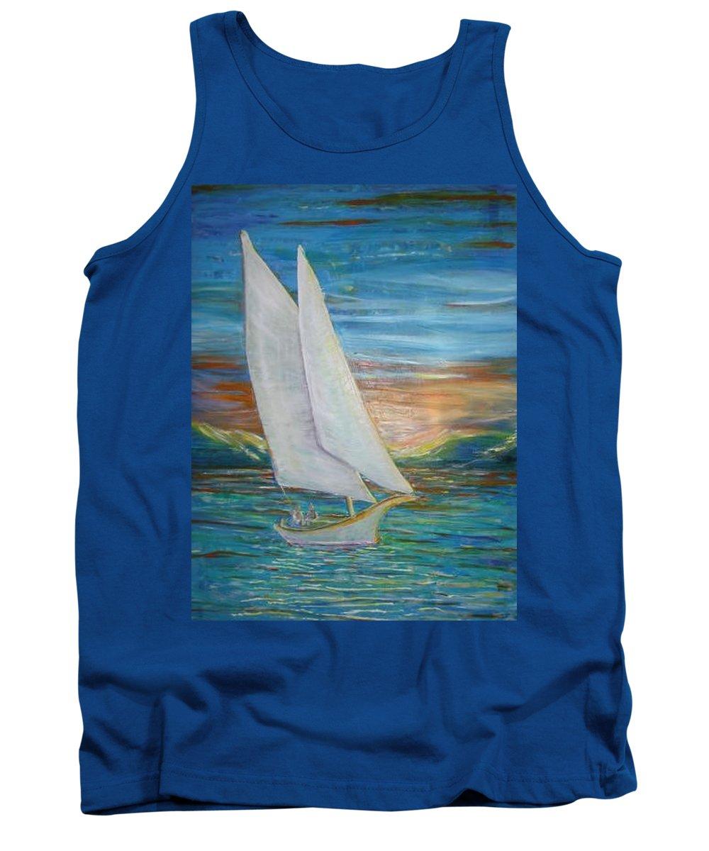 Sailboat Tank Top featuring the painting Saturday Sail by Regina Walsh