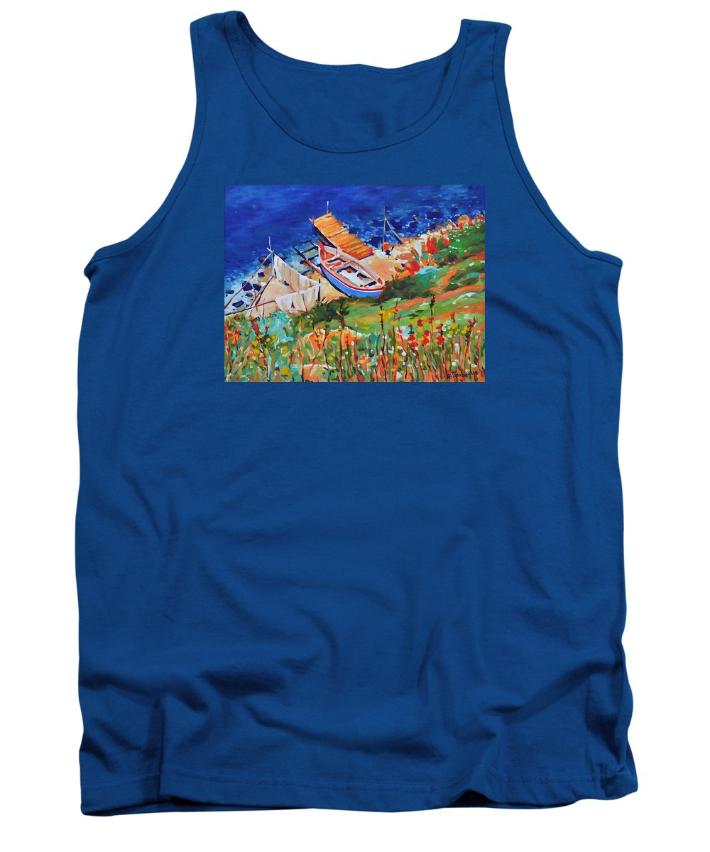 Seascape Tank Top featuring the painting Seacoast by Iliyan Bozhanov