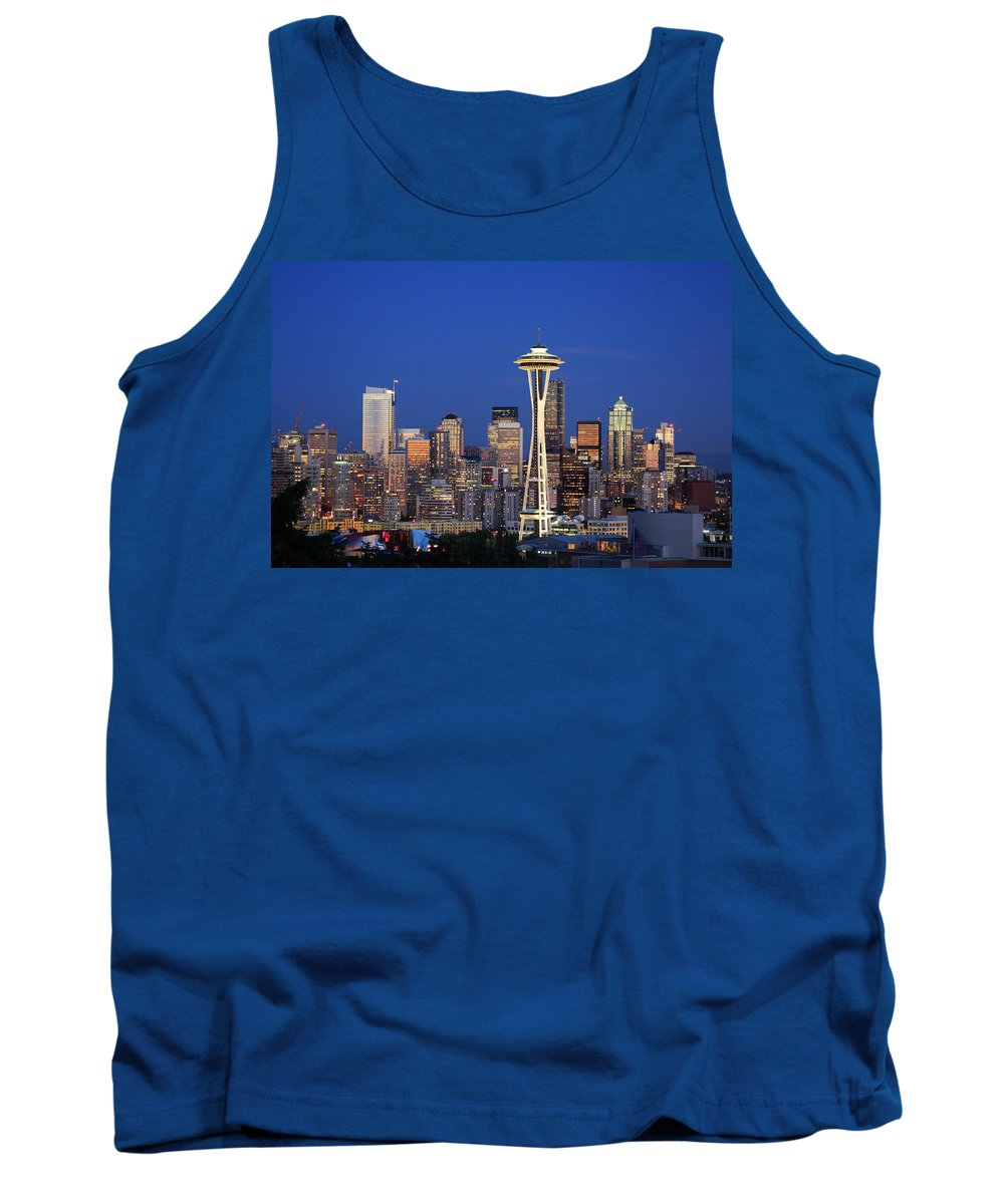 3scape Photos Tank Top featuring the photograph Seattle At Dusk by Adam Romanowicz