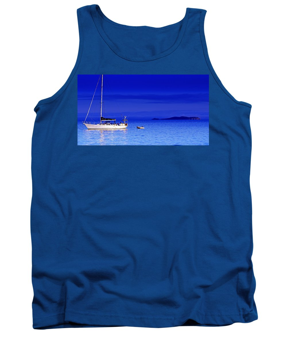 Transportation. Boats Tank Top featuring the photograph Serene Seas by Holly Kempe
