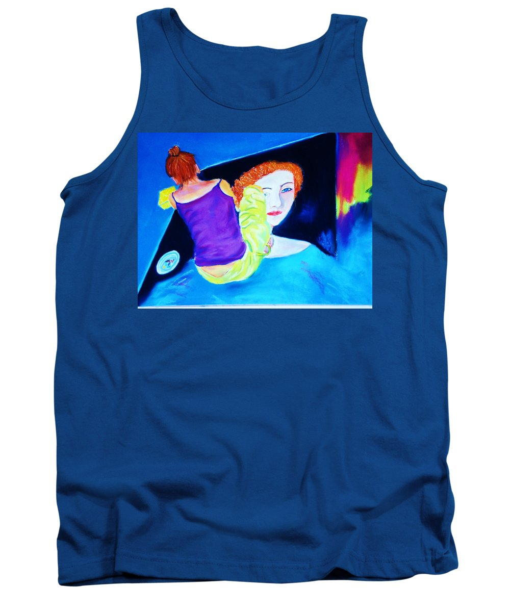 Painting Within A Painting Tank Top featuring the print Sidewalk Artist II by Melinda Etzold