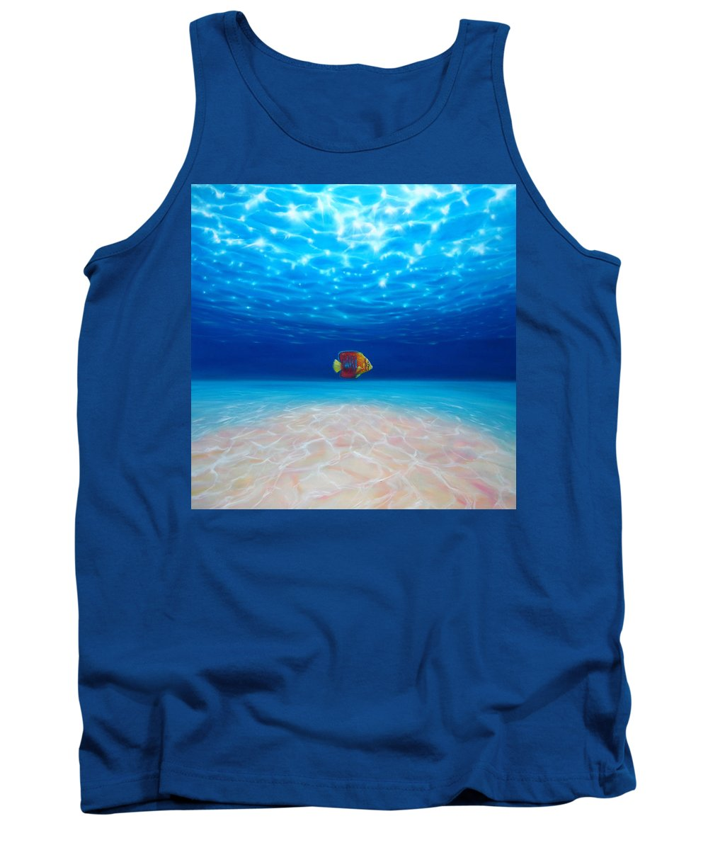 Underwater Paintings Tank Top featuring the painting Solo Under The Sea by Gill Bustamante