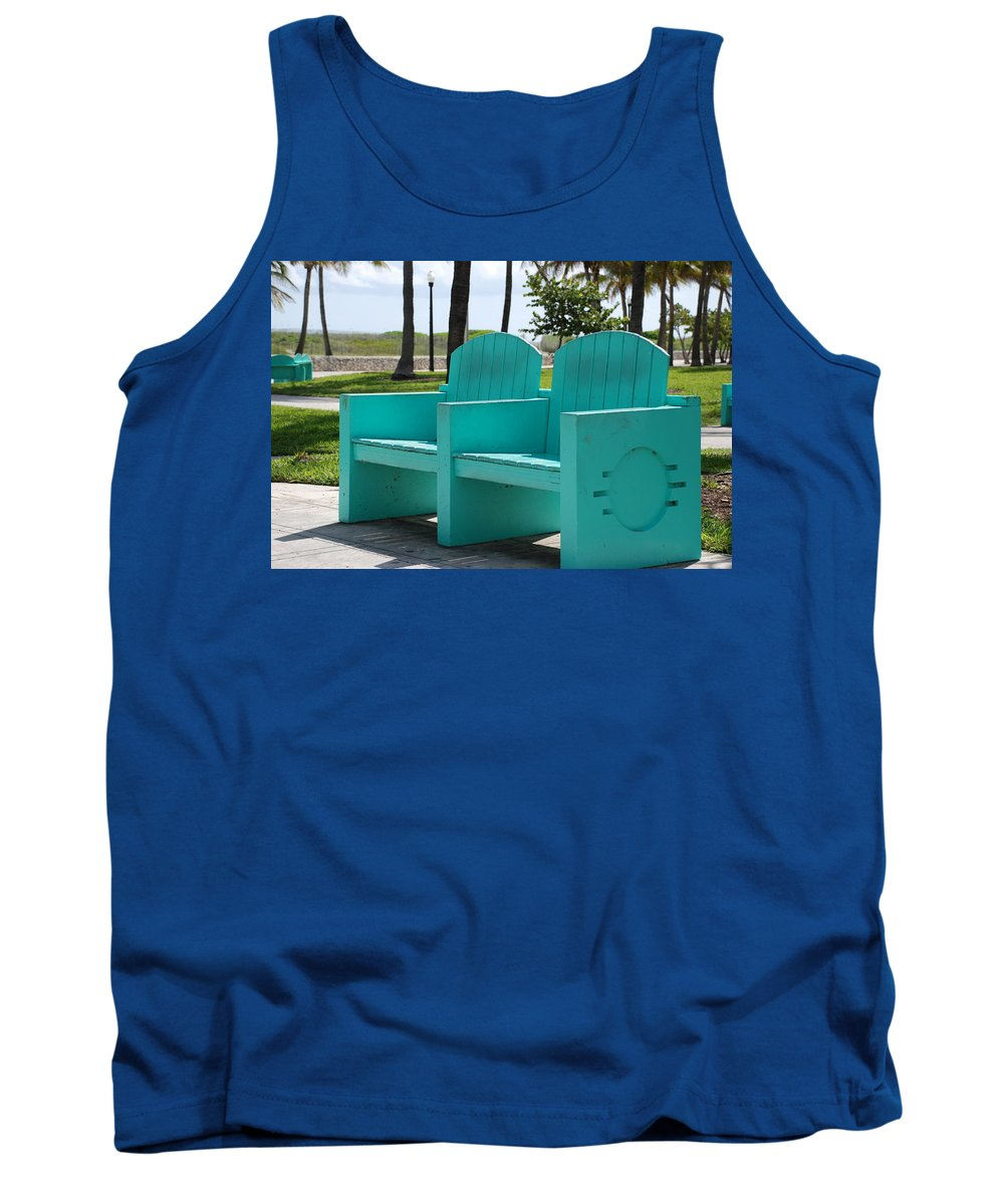 Art Deco Tank Top featuring the photograph South Beach Bench by Rob Hans