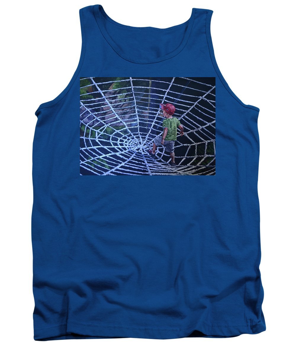 Spider Man Tank Top featuring the painting Spider Man by Valerie Patterson