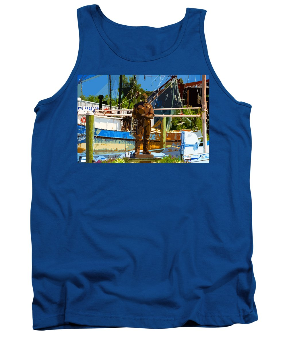 Sponge Diving Tank Top featuring the painting Sponge Diver by David Lee Thompson