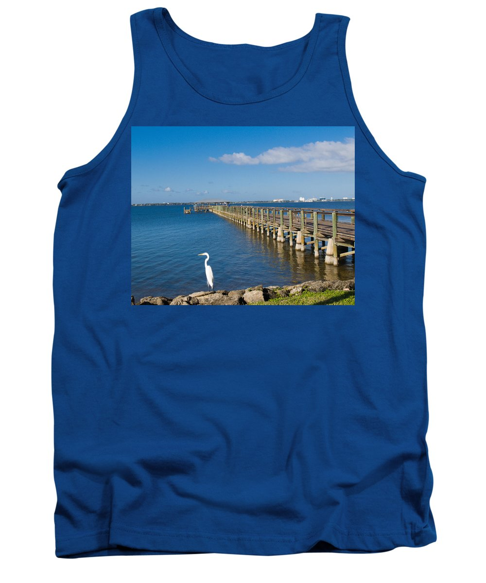 Florida; Melbourne; Beach; Atlantic; Coast; East; Space; Pier; Pineapples; Steamboat; Load; Cargo; I Tank Top featuring the photograph Steamboat Landing Ot Melbourne Beach In Florida by Allan Hughes