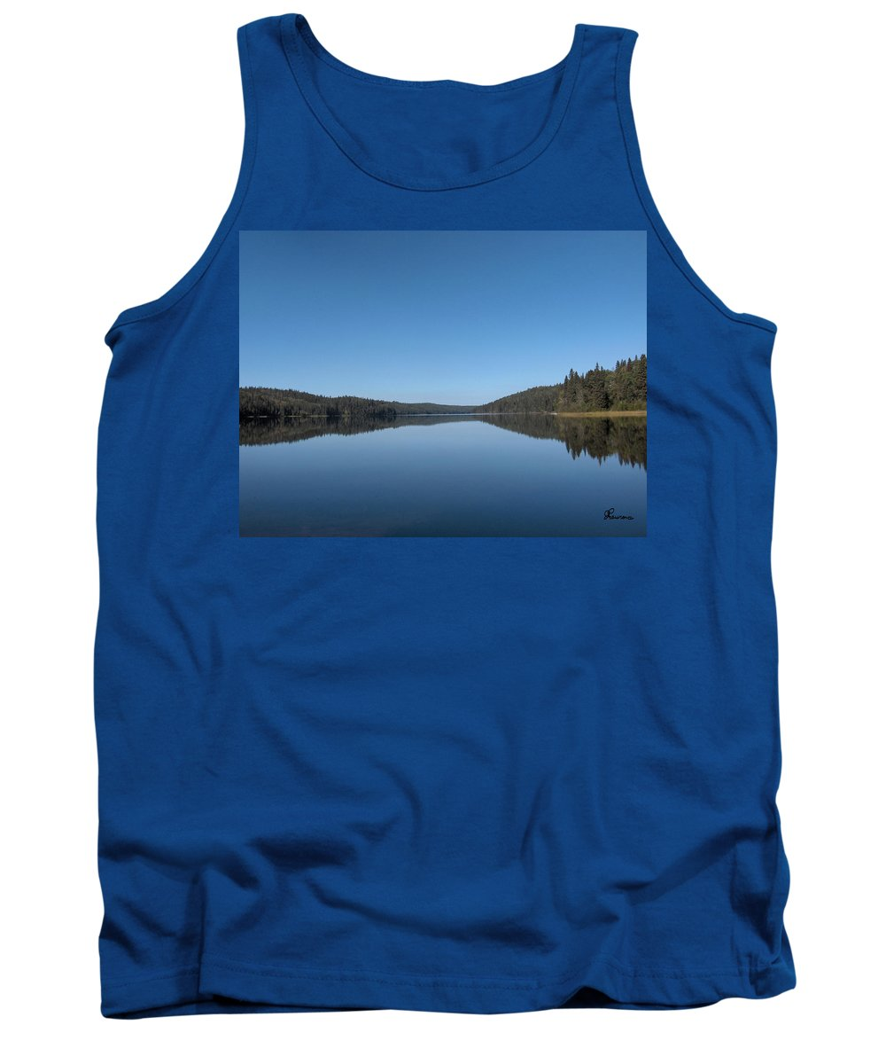 Lake Water Steepbanks Trees Still Scenery Forest Hills Tank Top featuring the photograph Steepbanks Lake by Andrea Lawrence